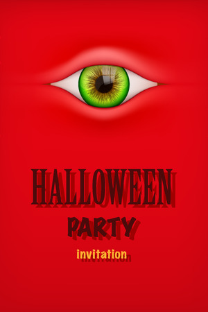 eye red: Halloween Party Invitation with monster eye. Red theme. Vector Illustration. Illustration