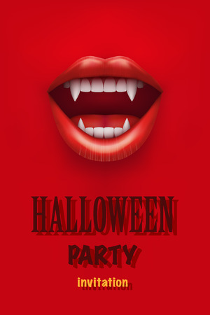 mouth open: Halloween Party Invitation with vampire mouth open red lips and long teeth. Vector Illustration.