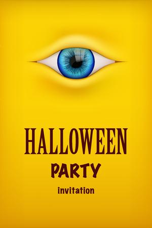 Invito alla festa di Halloween con l'occhio mostro. Tema giallo Illustrazione vettoriale