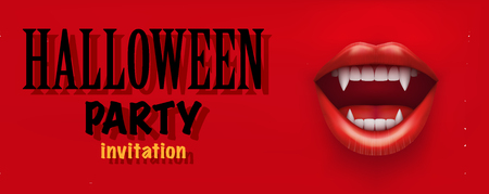 mouth open: Halloween Party Invitation with vampire mouth open red lips and long teeth. Horizontal banner. Vector Illustration.