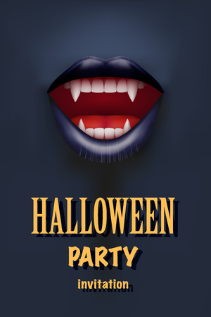 long mouth: Halloween Party Invitation with vampire mouth open red lips and long teeth. Dark theme. Vector Illustration.