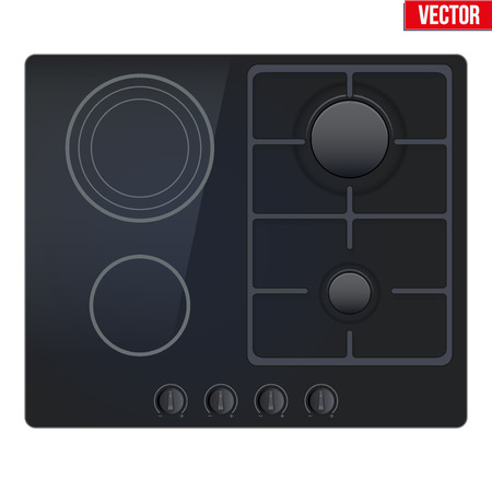 stove top: Surface of Combined stove gas and electric. Top view of dual combo stove. Domestic equipment. Editable Vector illustration Isolated on white background. Illustration