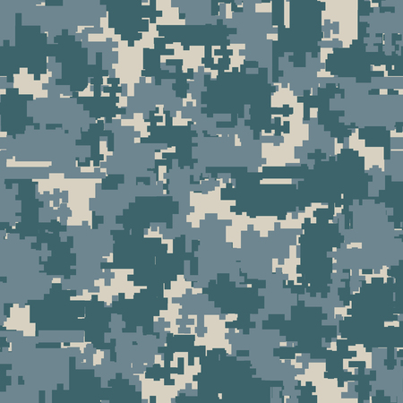 Digital pixel camouflage seamless patterns. Vector Texture Illustration isolated on white background.