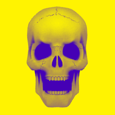duotone: Human skull in vintage duotone and halftone sketch style. Vector Illustration isolated on background.