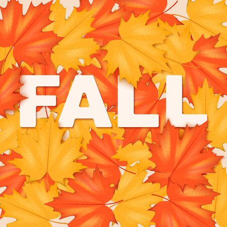 Red and Yellow Leaves Pattern with word Fall. Horizontal format. Vector Illustration isolated on white background. Illustration