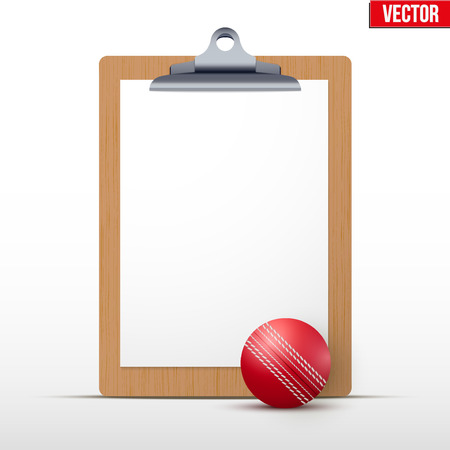 criket: Coaching blank clipboard and cricket ball. Editable Vector illustration Isolated on white background.