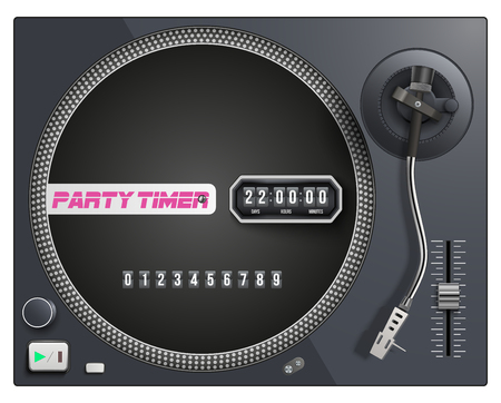 Illustration with modern turntable and timer to start event. Vector Isolated on white background.