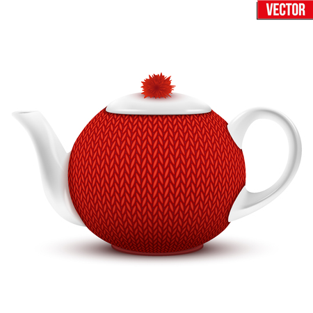 Ceramic teapot with a knitted cozy sweater. Vector illustration Isolated on white background.