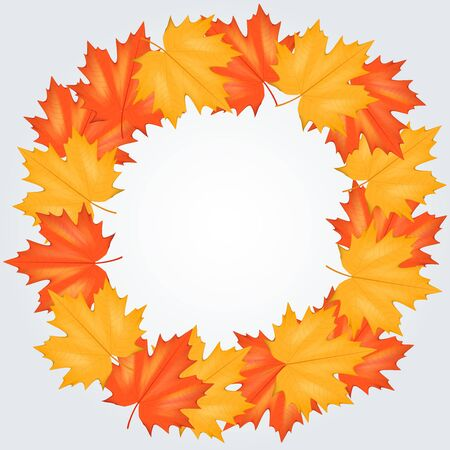 Red and Yellow Autumn Leaves Pattern with circle for your text. Square format. Vector Illustration isolated