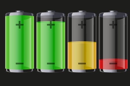 Set of rechargeable batteries with indication level of full charge to low. Editable  illustration Isolated on dark background.