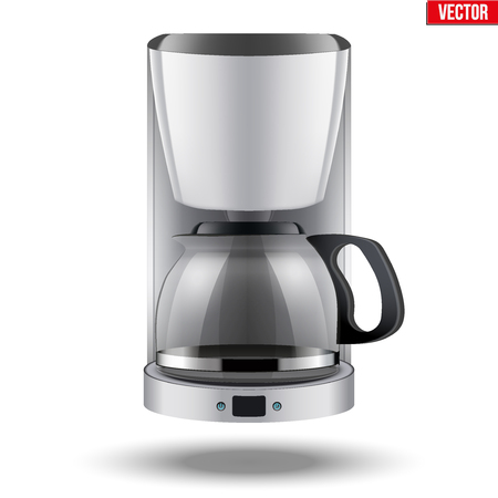 Classic Drip Coffee maker with glass pot. White color and Original design. Editable  illustration Isolated on white background. Illustration