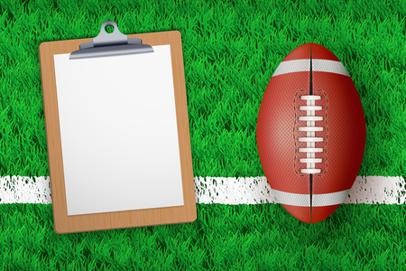 Stadium grass field with Coaching blank clipboard and football ball. Closeup For various sport background. Editable  illustration Isolated on background.