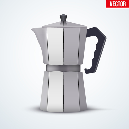 great coffee: Classic Metal Coffee maker. Vintage style. Editable Vector illustration Isolated on white background.