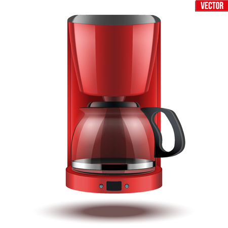 siphon: Classic Drip Coffee maker with glass pot. Red color and Original design. Editable Vector illustration Isolated on white background.