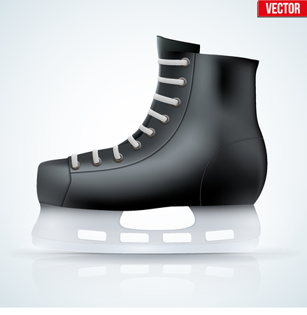 iceskating: Black classic ice hockey skates. Sport equipment. Side view. Vector Illustration isolated on white background.