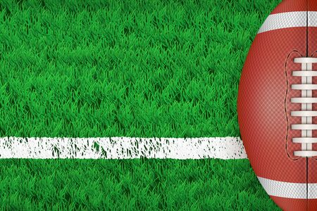 Stadium grass field with American football ball. Closeup For various sport background. Editable Vector illustration Isolated on background. Vettoriali