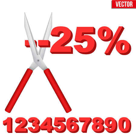 cut price: Discount Percentage cut large scissors. Price decrease and drop cost. Editable Vector illustration Isolated on white background. Illustration