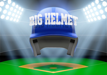 Horizontal Background of stadium with big baseball helmet. Editable Vector Illustration.