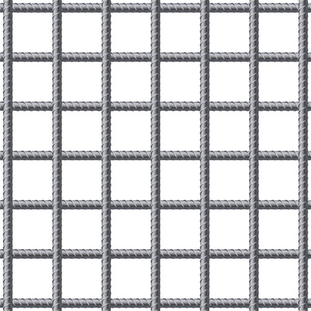 welded: Lattice of fitting rebars. Reinforcement steel for building. Vector illustration Isolated on white background. Illustration