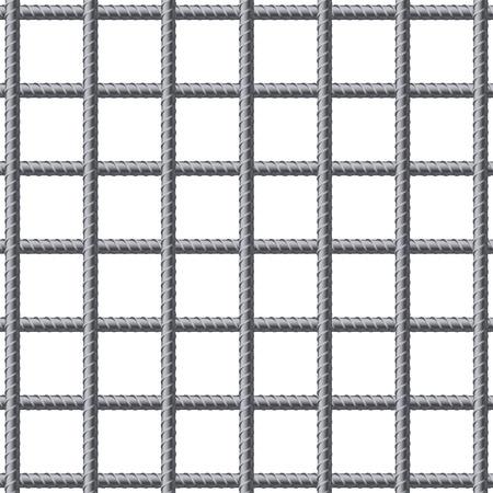 Lattice von Fitting Bewehrungsstäbe. Bewehrungsstahl für den Bau. Vektor-Illustration auf weißem Hintergrund.