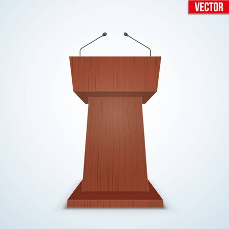 Wooden Podium Speaker Tribune with Microphones. Speech symbol. Vector Illustration Isolated on Background. Illustration