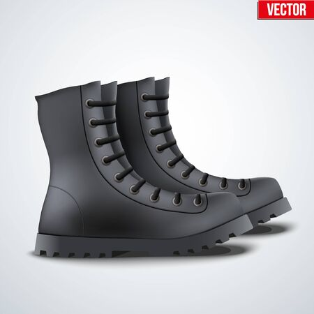 army boots: Black Leather Military Army Boots. Side view. Vector Illustration Isolated on Background.