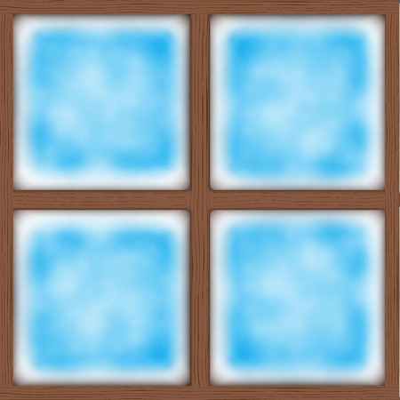 wooden window: Frosted window. Ice on glass. Square wooden window. Vector Illustration Isolated on background Illustration