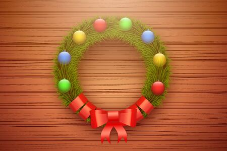 Traditional Green christmas wreath with red ribbon on wooden door. Christmas balls. Horizontal style. Vector Illustration Isolated on Background.