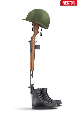 Memorial Battlefield Cross. Het symbool van een gevallen Amerikaanse soldaat. Moderne oorlog. Geweer M14 met laarzen en helm. Vectorillustratie Geïsoleerd op een witte achtergrond.