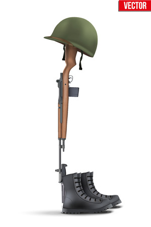 Memorial Battlefield Cross. The symbol of a fallen US soldier. Modern war. Rifle M14 with boots and helmet. Vector Illustration Isolated on white background.