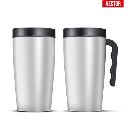 Classic Stainless steel mug set with handle. For travel and morning coffee. Vector Illustration Isolated on Background. Vettoriali