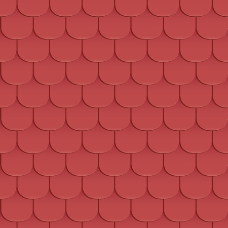 covering cells: Shingles roof seamless pattern. Red color. Classic style. Vector illustration