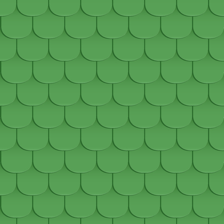 covering cells: Shingles roof seamless pattern. Green color. Classic style. Vector illustration
