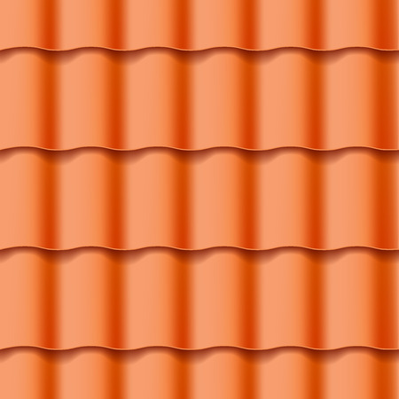 slate roof: Tiled roof seamless pattern. Orange color. Classic style. Vector illustration