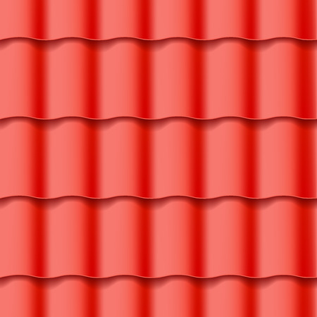 slate roof: Tiled roof seamless pattern. Red color. Classic style. Vector illustration Illustration