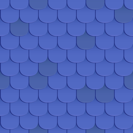 covering cells: Shingles roof seamless pattern. Blue color. Classic style. Vector illustration