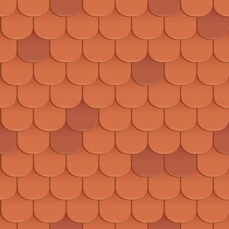 Shingles roof seamless pattern. Orange color. Classic style. Vector illustration Ilustração