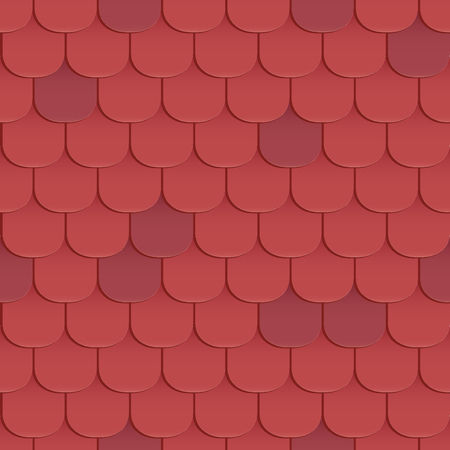 roof shingles: Shingles roof seamless pattern. Red color. Classic style. Vector illustration