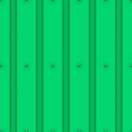 Tetto metallico con unghie senza soluzione di continuità. Colore verde. Stile classico. Illustrazione vettoriale