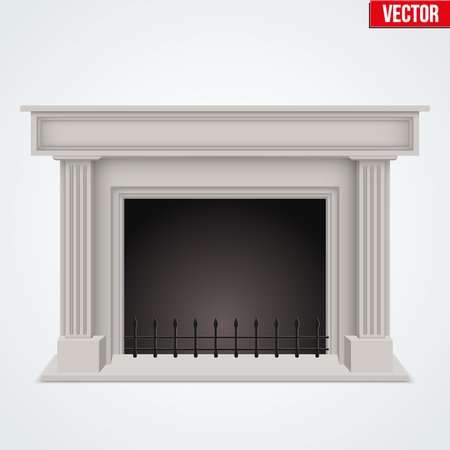 gas fireplace: Fireplace in house room. Realistic style design. Illustration Isolated on white background.