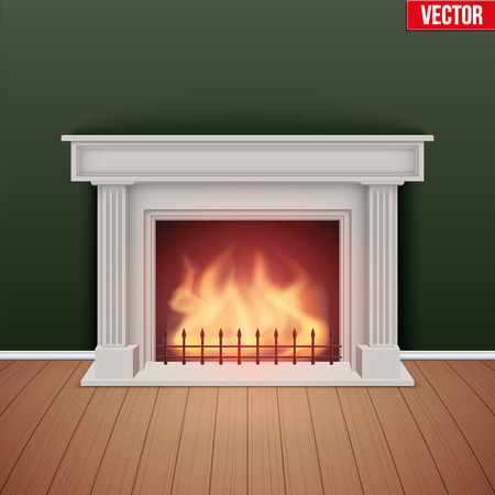 Fireplace in house cozy room. Realistic style design. Illustration Isolated on white background. Vector Illustration