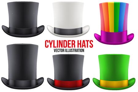 Set of gentleman hat cylinder with ribbon. Luxury and men symbol. Illustration Isolated on white background.