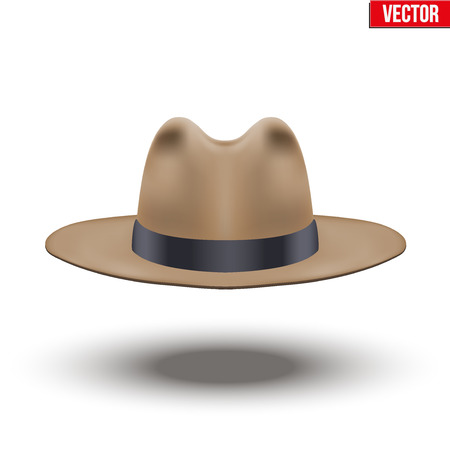Classic Men Hat. Brown color with black ribbon. Accessory for beauty stylish man and gentlemens. Illustration Isolated on white background.