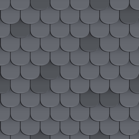 roof shingles: Shingles roof seamless pattern. Black color. Classic style. illustration