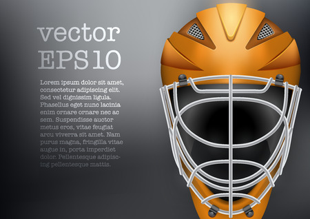icehockey: Classic Goalkeeper Ice and Field Hockey Helmet on dark Background. Copy space for text. Sport Equipment. Editable illustration isolated on background.