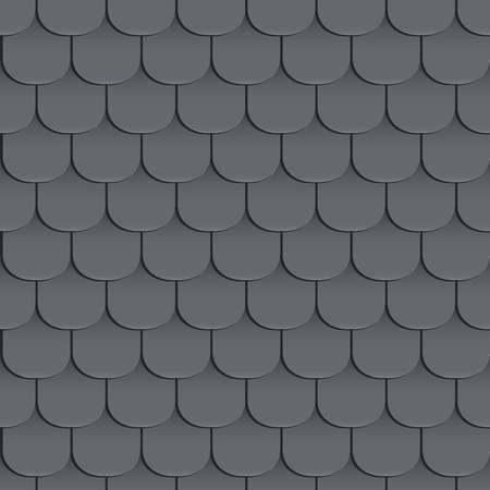 tejas: Shingles roof seamless pattern. Black color. Classic style. illustration