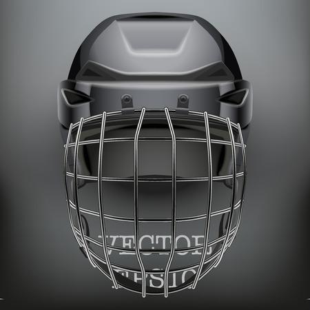 Classic Doelman IJs en Hockey Helm op een donkere achtergrond. Kopieer ruimte voor tekst. Sportuitrusting. Bewerkbare illustratie geïsoleerd op achtergrond.
