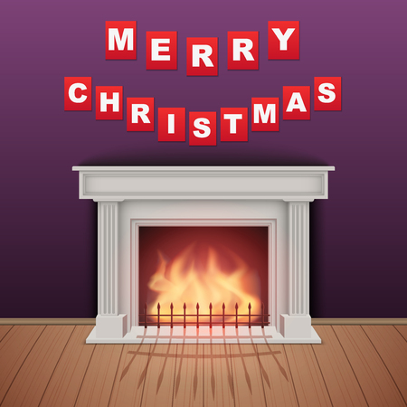 snug: Christmas and Fireplace in cozy room. Realistic style design. Vector Illustration.