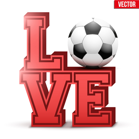 Letters forming word LOVE with football ball. Vector Illustration isolated on white background. Illustration