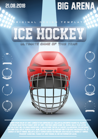 hockey games: Poster Template Ice Hockey Games with Goalkeeaper Helmet. Cup and Tournament Advertising. Sport Event Announcement. Vector Illustration.